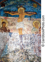 Photo of the old fresco crucifix of Christ on the wall