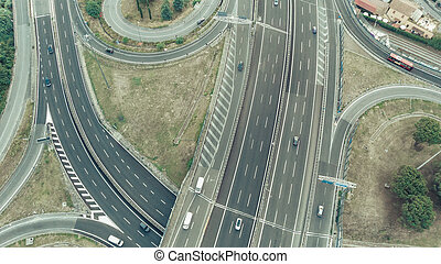 photo of the road junction from a bird's eye view