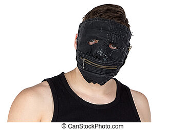 Photo of the young man in mask