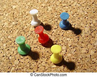 Thumbtacks - Photo of Thumbtacks in Cork Board