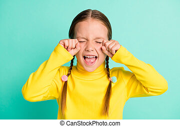 Photo of unhappy sad brown haired little girl cry stressed offended isolated on shine teal color background
