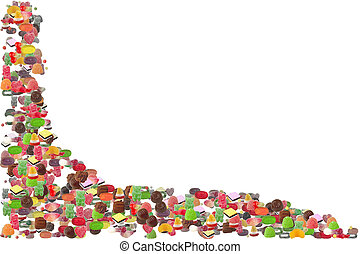 Photo of Various Types Jelly and Chocolate Candy - Candy Border