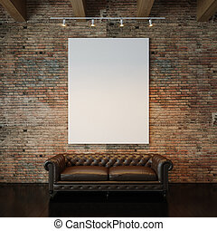 Photo of white empty canvas on the natural brick wall background and vintage classic sofa. 3d render