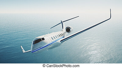 Photo of white luxury generic design private airplane flying...