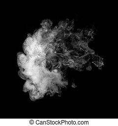 Photo of white smoke isolated on a black background