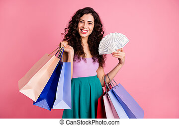 Photo of white wealthy cheerful nice charming cute fascinating girlfriend holding packages while isolated with pink background