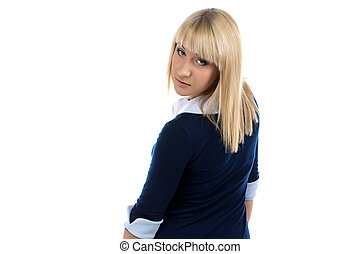 Photo of woman look back on white background