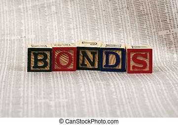 Bonds - Photo of Wooden Blocks Spelling the Word Bonds