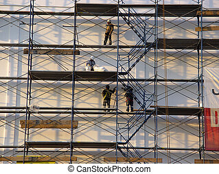 Scaffolding - Photo of Workers on Scaffolding.