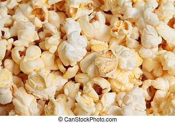 photo of yellow popcorn, closeup
