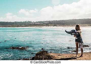 Young Girl near Pacific Ocean in California