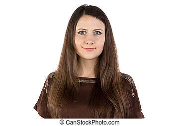 Photo of young woman looking at camera
