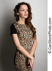 young woman with beauty long curly hair