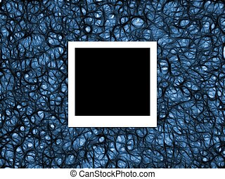 Photo on abstract blue