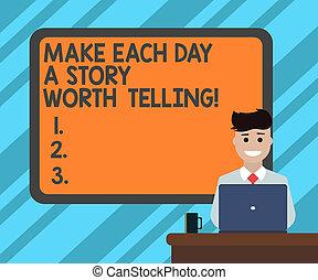 photo, ordinateur portable, bordered, signe, desk., avoir, vide, sourire, journalier, histoire, faire, grande tasse, derrière, planche, texte, conceptuel, inspiration, valeur, séance, projection, jour, homme, essayer, chaque, telling.