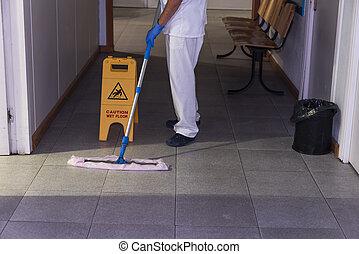photo, ouvrier, pupille, nettoyage, conceptuel, hôpital