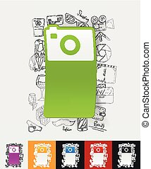photo paper sticker with hand drawn elements - hand drawn...