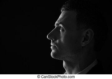 photo., pensif, closeup, portrait, blanc, man., noir