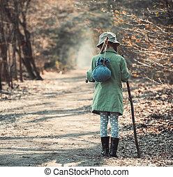 photo, peu, forêt, girl