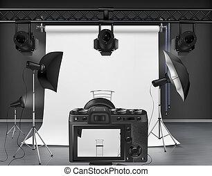 photo, photographie, vecteur, studio, équipement