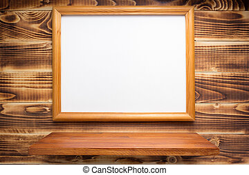 photo picture frame on wooden background