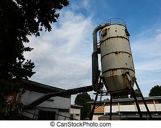 steel industrial silo
