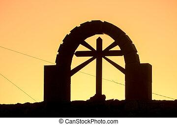 Silhouette cross of Jesus Christ