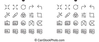 Photo Pixel Perfect Well-crafted Vector Thin Line Icons 48x48 Ready for 24x24 Grid for Web Graphics and Apps with Editable Stroke. Simple Minimal Pictogram