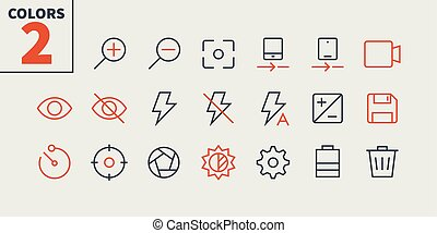 Photo Pixel Perfect Well-crafted Vector Thin Line Icons 48x48 Ready for 24x24 Grid for Web Graphics and Apps with Editable Stroke. Simple Minimal Pictogram Part 1