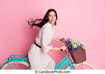 Photo portrait of happy smiling woman driving bicycle having wild flowers in basket isolated on pastel pink color background