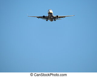 photo, prendre, aéroport, beau, avion, terre, atterrissage