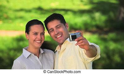 photo, prendre, couple, rire