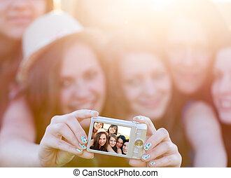 photo, prendre, groupe, gens