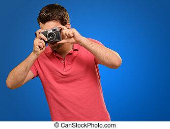 photo, prendre, homme, portrait