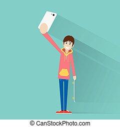 photo, prendre, téléphone, vecteur, selfie, intelligent, homme