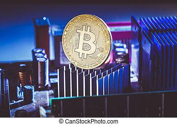 photo, processeur, bitcoin, monnaie, crypto