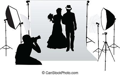 photo, professionnel, séance, studio, mariage