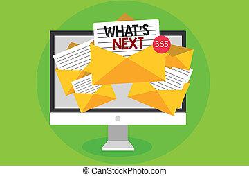 photo, quoi, une, informatique, virtual., quel, écriture, demander, enveloppes, papiers, conceptuel, réception, business, projection, après, main, immédiatement, email, présent, next., messages, s, showcasing, vient