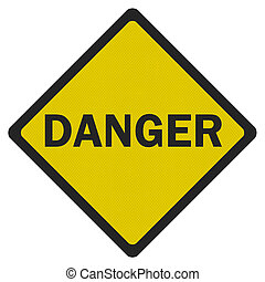 photo, réaliste, 'danger', signe, isolé, blanc