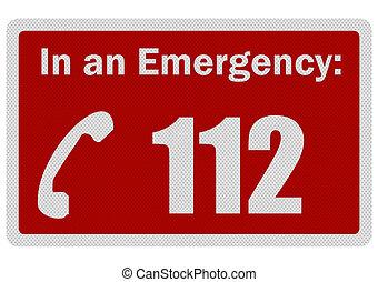 photo, réaliste, 'emergency, 112', signe, isolé, blanc