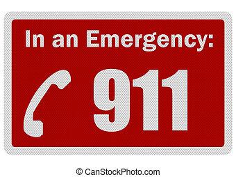 photo, réaliste, 'emergency, 911', signe, isolé, blanc