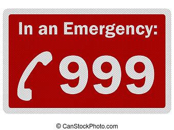 photo, réaliste, 'emergency, 999', signe, isolé, blanc