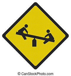 photo, réaliste, 'playground', signe, isolé, blanc