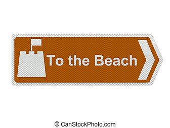 photo, réaliste, \'to, les, beach\', signe, isolé