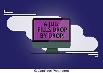 photo, résumé, reflété, signe, informatique, vide, ton, peu, moniteur, drop., faire, arrière-plan., lentement, texte, conceptuel, écran, cruche, projection, portée, buts, monté, remplit, goutte, étapes