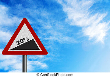 Photo realistic \\\'20% slope\\\' sign, to represent VAT increase.