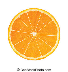 photo-realistic, apelsin, slice., vektor, illustration