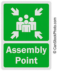 Photo realistic metallic, reflective 'assembly point' sign, isolated on pure white