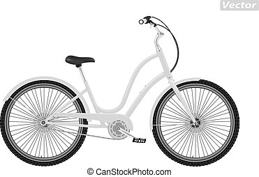 photo-realistic Bicycle vector isolated on white background
