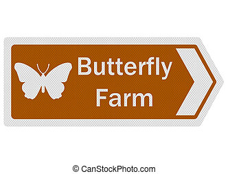 Photo realistic 'butterfly farm' sign, isolated on white